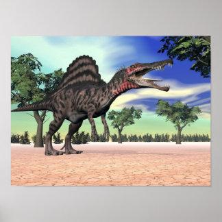 Poster Dinosaure de Spinosaurus dans le désert - 3D