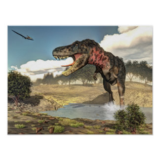Poster Dinosaure de Tarbosaurus - 3D rendent