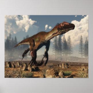 Poster Dinosaure d'Utahraptor dans le désert - 3D rendent
