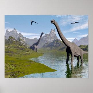 Poster Dinosaures de Brachiosaurus dans l'eau - 3D