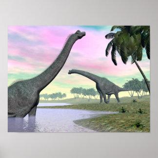 Poster Dinosaures de Brachiosaurus en nature - 3D rendent