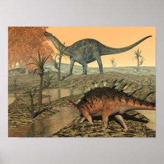 Poster Dinosaures de Dicraeosaurus et de kentrosaurus