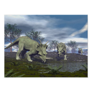 Poster Dinosaures de Styracosaurus allant arroser - 3D