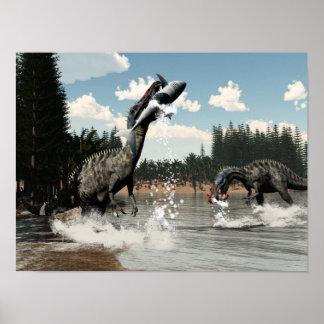 Poster Dinosaures de Suchomimus pêchant les poissons et