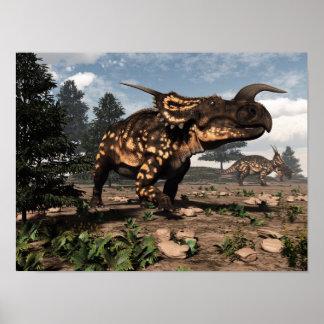 Poster Dinosaures d'Einiosaurus dans le désert - 3D
