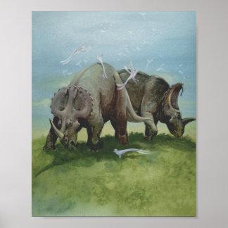 Poster Dinosaures vintages, Centrosaurus frôlant dans le