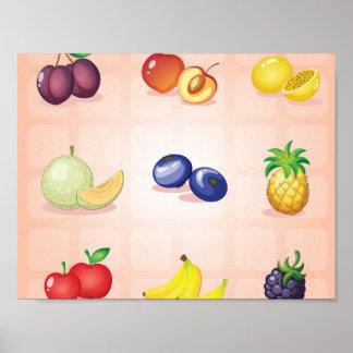 Poster Diverse affiche de fruits