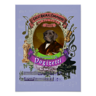 Poster Donizetti charrient le compositeur de chien de