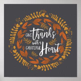 Poster Donnez les mercis avec une copie reconnaissante
