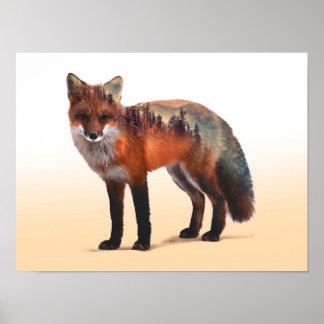 Poster Double exposition de Fox - art de renard - renard
