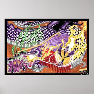 Poster Dragon de la copie de photo de Lotus