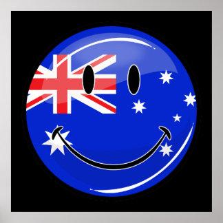 Poster Drapeau australien de sourire brillant
