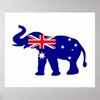 Poster Drapeau australien - éléphant