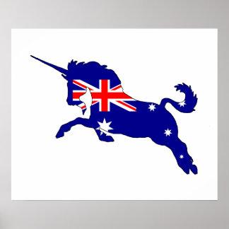 Poster Drapeau australien - licorne