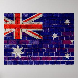 Poster Drapeau de l'Australie sur un mur de briques