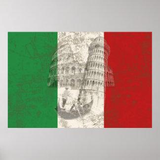 Poster Drapeau et symboles de l'Italie ID157