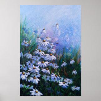 Poster Du bon côté, champ floral de marguerite blanche