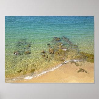 Poster d'une plage de rochers en Corse, France