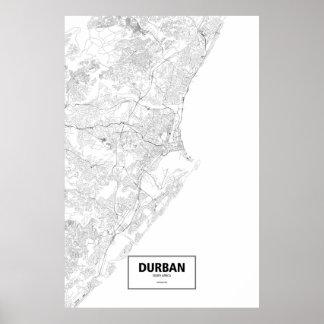 Poster Durban, Afrique du Sud (noir sur le blanc)