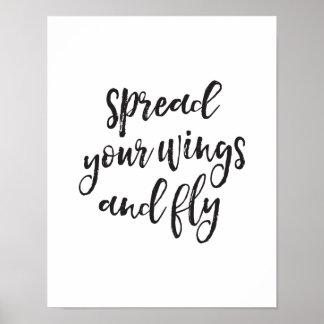 Poster Écartez vos ailes et mouche, copie de motivation