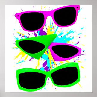 Poster Éclaboussure au néon vintage de lunettes de soleil