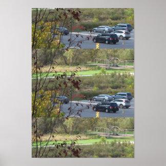 Poster Écoulement de motif de voitures du trafic de
