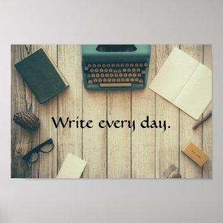 Poster Écrivez chaque jour. Affiche de motivation