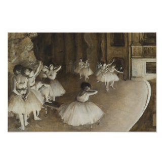 Poster Edgar Degas - répétition de ballet sur l'étape