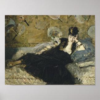Poster Edouard Manet - femme avec des fans