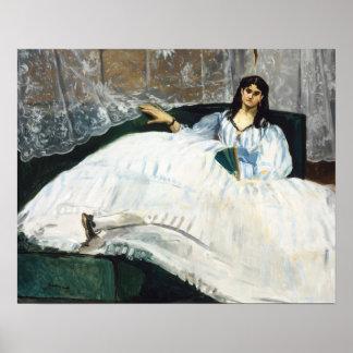 Poster Edouard Manet - femme avec une fan