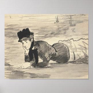 Poster Edouard Manet - femme se trouvant sur la plage
