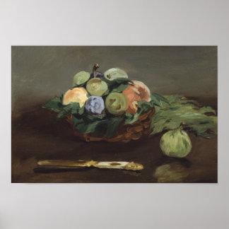 Poster Edouard Manet - panier de fruit