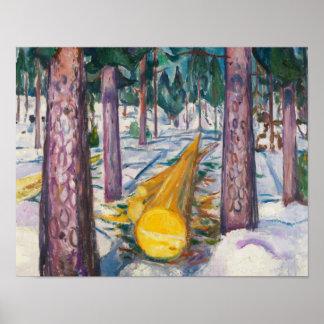 Poster Edvard Munch - le rondin jaune