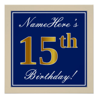 Poster Élégant, bleu, anniversaire d'or de Faux 15ème +