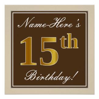 Poster Élégant, Brown, anniversaire d'or de Faux 15ème +