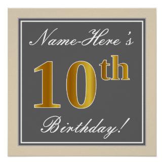 Poster Élégant, gris, anniversaire d'or de Faux 10ème +