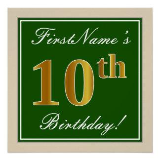 Poster Élégant, vert, anniversaire d'or de Faux 10ème +