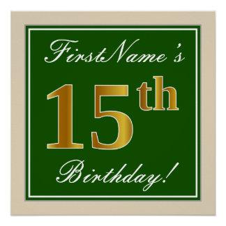 Poster Élégant, vert, anniversaire d'or de Faux 15ème +
