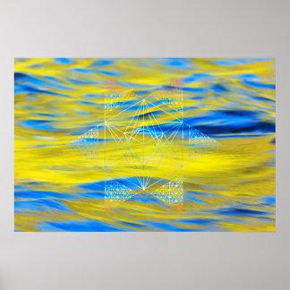 Poster Élément sacré de l'eau de la géométrie