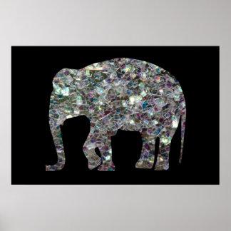 Poster Éléphant argenté coloré scintillant de mosaïque de