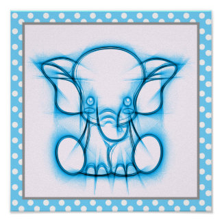 Poster Éléphant bleu de bébé de dessin au crayon de bande
