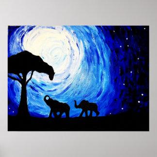 Poster Éléphants sous le clair de lune (art de K.Turnbull