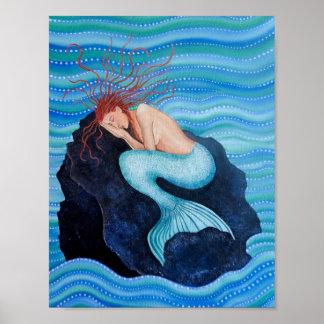Poster Elle rêve l'affiche de sirène de rêves de mer