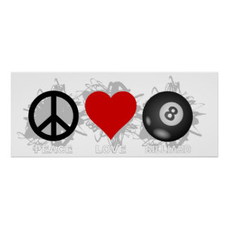 Poster Emblème de billard d'amour de paix