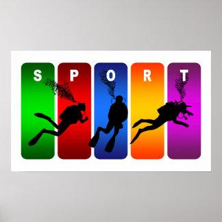 Poster Emblème multicolore de plongée à l'air