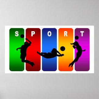 Poster Emblème multicolore de volleyball