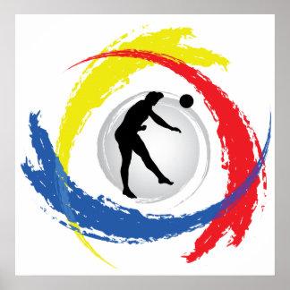 Poster Emblème tricolore de volleyball (mâle)
