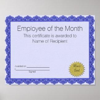 Poster Employé du certificat de mois