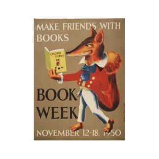 Poster En Bois Affiche en bois de la semaine du livre de 1950