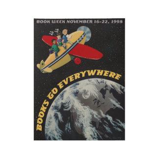 Poster En Bois Affiche en bois de la semaine du livre de 1998